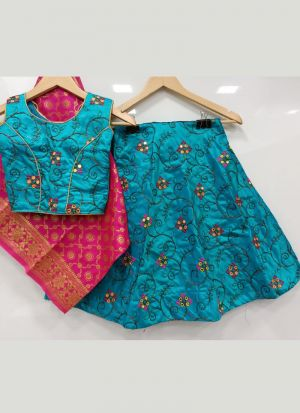 Kids Special Turquoise Embroidery Traditional Lehenga Choli