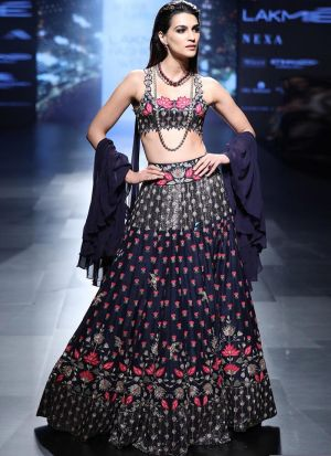 Kriti Sanon Banglori Silk Navy Bollywood Indian Lehenga Choli