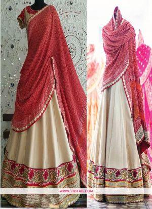 KT 2055 Cream Bridal Cocktail Bangalore Silk Designer Lehenga Choli