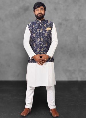 Kurta Pajama With Jacquard Print Koti