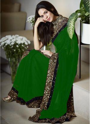 Latest 60 Gm Georgette Designer Saree In Green Color