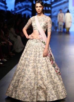 Latest Arrival Cream Heavy Embroidery Designer Lehenga Choli