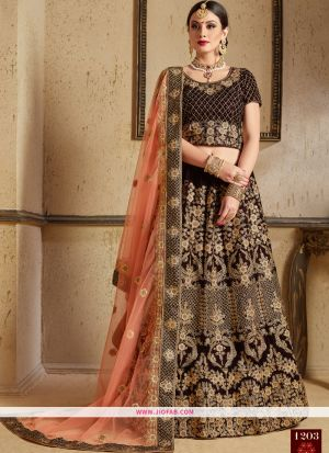 Latest Arrival Pure Velvet Bridal Lehenga Choli In Maroon Color