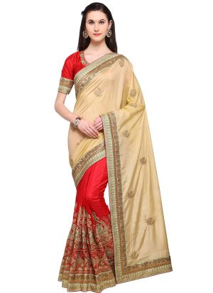 Latest Beige Indian Party Wear Fancy Sarees