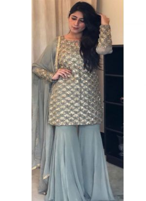 Latest Bollywood Style Grey Embroidered Palazzo Suit