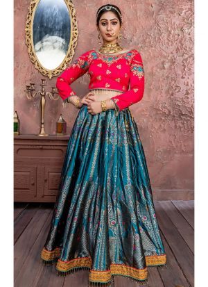 Latest Collection Morpich Banarsi Silk Traditional Lehenga Choli