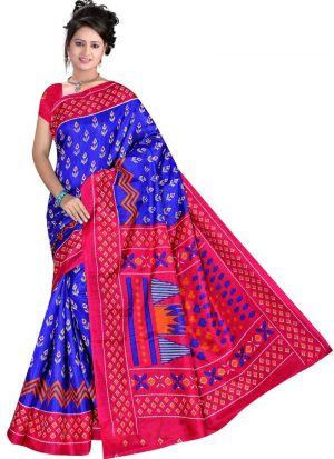Latest Collection Multi Color Rice Silk Printed Saree