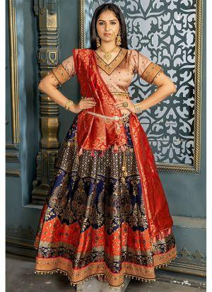 Latest Collection Navy Color Banarsi Silk Traditional Lehenga Choli