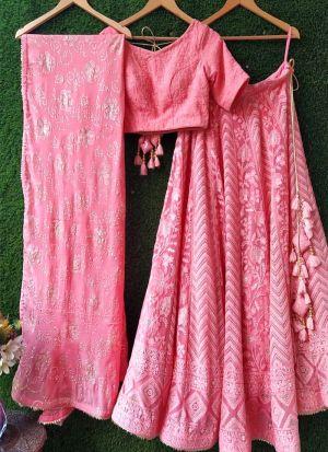 Latest Design Pink Chain Stitch Beautiful Lehenga Choli