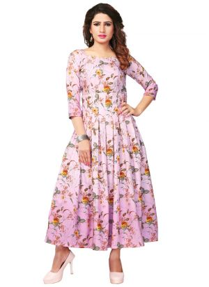 Latest Design Pure Heavy Rayon Pink Kurti Collection