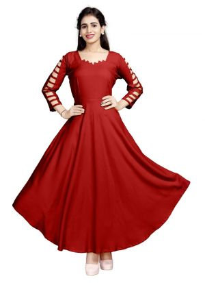 Latest Design Pure Heavy Rayon Red Kurti Collection