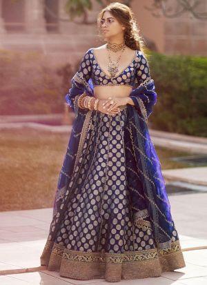 Latest Design Traditional Wear Blue Silk Lehenga Choli