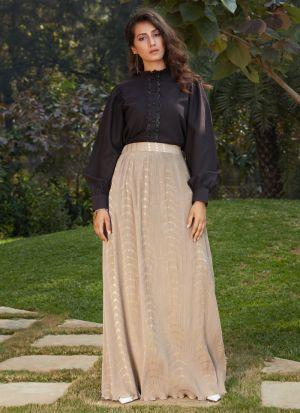 Latest Designer Beige Printed Skirt With Crop Top