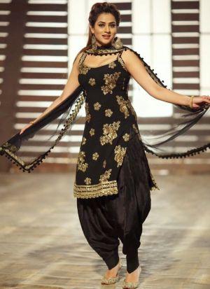 Latest Designer Black Cotton Fancy Thread Work Patiala Suit