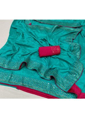 Latest Designer Green Silk Saree