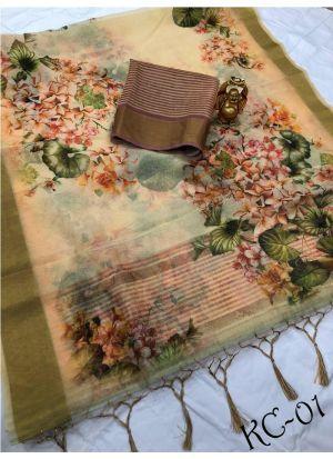 Latest Designer Multi Color Linen Sarees Collection