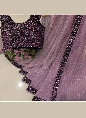 Latest Designer Purple Georgette Bamberg Thread Work Party Wear Saree