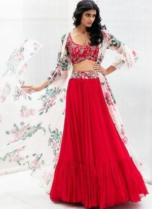 Latest Diwali Wear Red Lehenga Choli