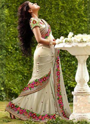Latest Georgette Designer Saree In Off White Color