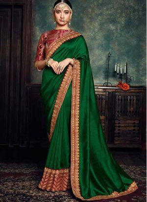 Latest Green Rangoli Silk Bollywood Saree