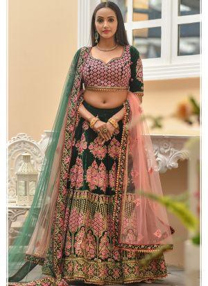 Latest Indian 9000 Velvet Green Designer Lehenga Choli
