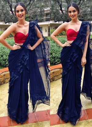 Latest Indian Navy Georgette Silk Ruffle Sarees Collection