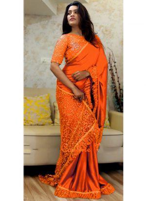 Latest Indian Orange Paper Silk Naylon Net Sequnce Sarees Collection