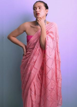 Latest Launched Baby Pink Paper Work Saree