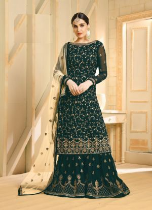 Latest Launched Bottle Green Embroidered Sharara Style Suit
