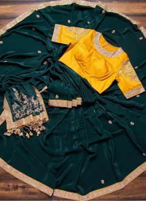 Latest Launched Bottle Green Saree With Thread Work
