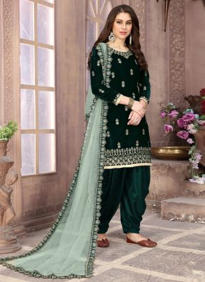 Latest Launched Dark Green Embroidered Salwar Suit