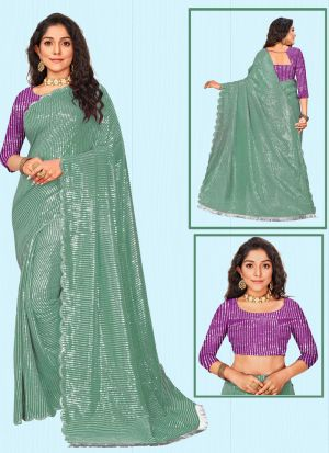 Latest Launched Green Sequins Saree