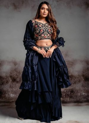 Latest Launched Navy Crepe Silk Embroidery Lehenga Choli