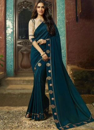 Latest Launched Peacock Blue Vichitra Silk Saree With Contrasting Blouse