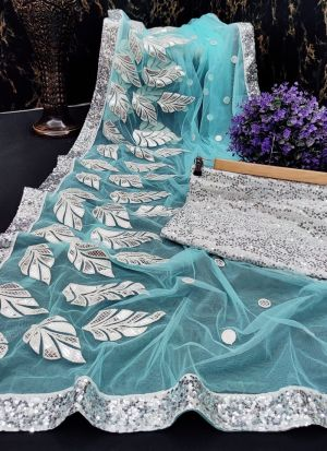 Latest Launched Sky Blue Sequence Work Saree
