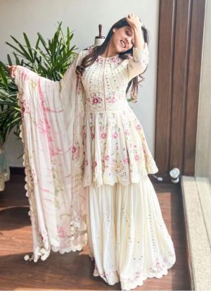 Latest Launched White Digital Printed Sharara Suit