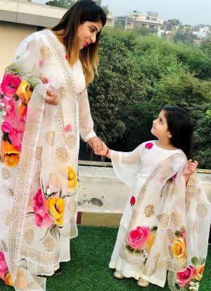 Latest Mother Daughter Style White Digital Printed Combo Sharara Suit