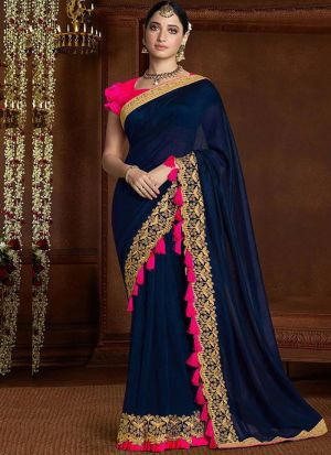 Latest Navy Vichitra Silk Bollywood Saree