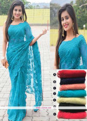 Latest Naylon Mono Net Designer Saree In Sky Blue Color