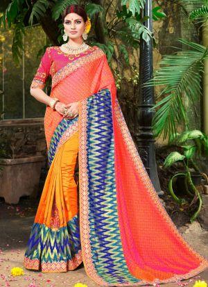 Latest Orange Indian Party Wear Fancy Sarees