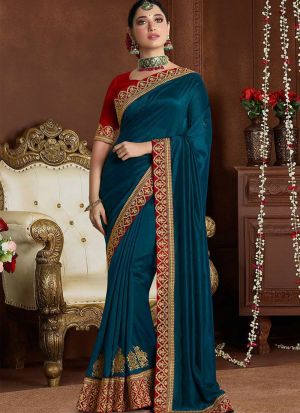 Latest Peacock Blue Rangoli Silk Bollywood Saree