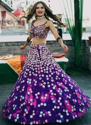 Latest Purple Wedding Wear Taffeta Silk Lehenga Choli