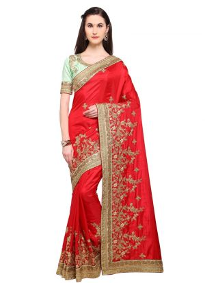 Latest Red Color Indian Party Wear Fancy Sarees