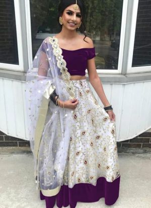 Latest White Net Embroidered Party Wear Lehenga Choli