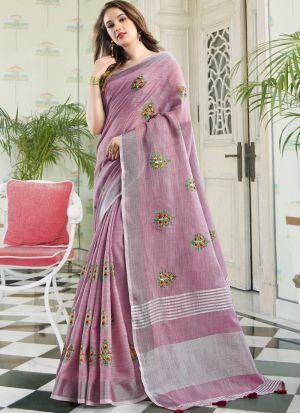 Lavender Color Traditional South Indian Wedding Linen Cotton Saree