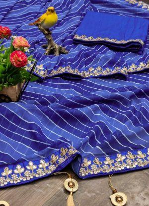 Leheriya Printed Saree In Midnight Blue Color