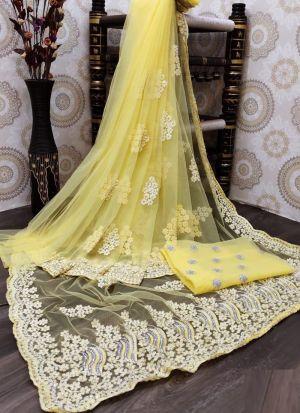 Lemon Yellow Nylon Mono Net Embroidery Saree