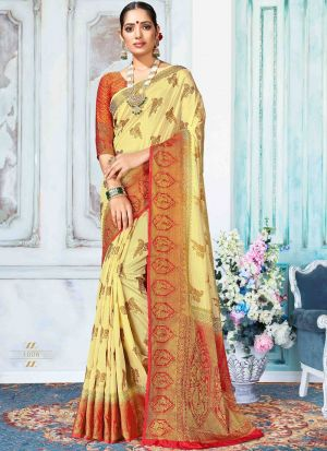 Lemon Yellow Nylon Silk Most Beautiful Saree Collection