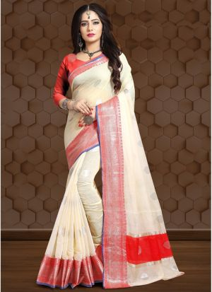 Light Cream Linen Fancy Designer Traditional Saree