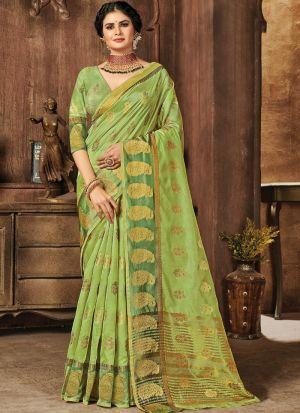 Light Green Organza Traditional Saree